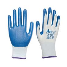 星宇N518白尼龙耐磨耐腐蚀耐油透气丁腈劳保防护手套